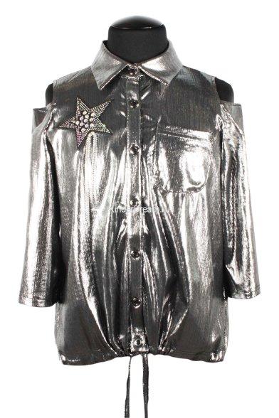 Нарядная рубашка Deloras 20452-02 серебро Deloras