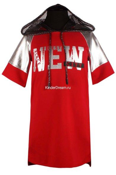 Платье-туника с капюшоном Deloras 18460J-05 красный  Deloras