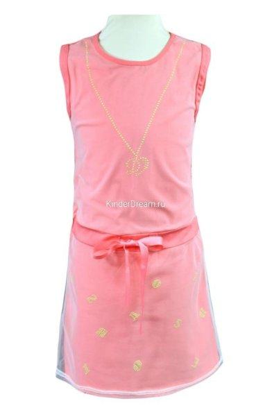 Платье, декорированное сеткой Deloras 26368 розовый Deloras