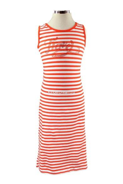 Трикотажное платье с шифоновой вставкой Deloras 26366 красный Deloras