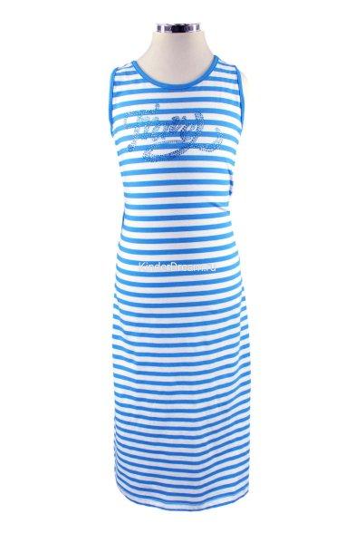 Трикотажное платье с шифоновой вставкой Deloras 26366 голубой Deloras