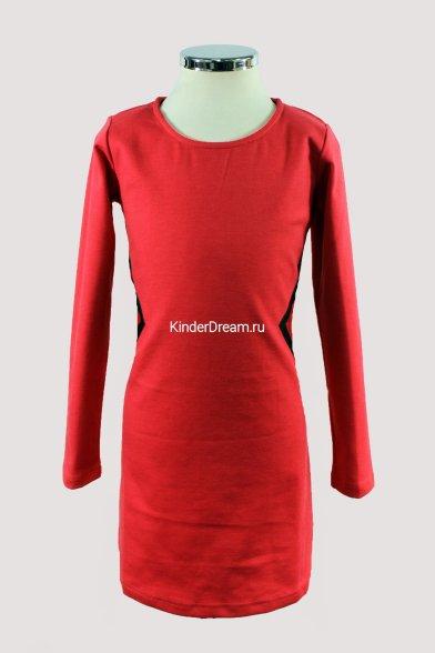 Стильное платье с кожаными вставками Vitacci 10209 коралловый Vitacci