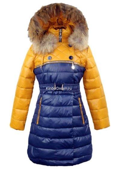 Комбинированное зимнее пальто Vitacci 14153 синий/жёлтый Vitacci