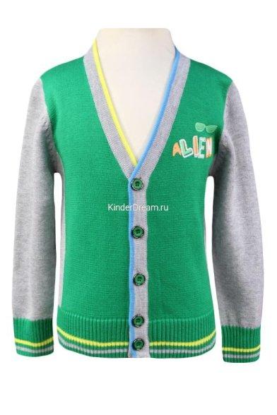Модный комбинированный кардиган Deloras 31490 зеленый Deloras