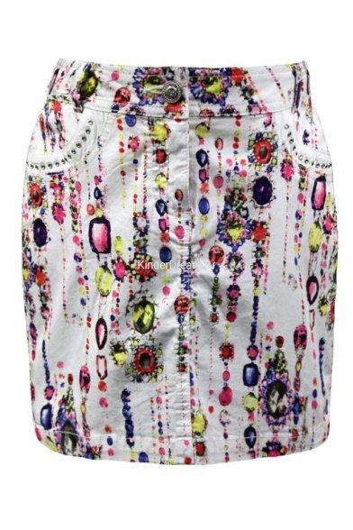 Летняя юбка-карандаш оригинальной расцветки Deloras 27269 белый Deloras