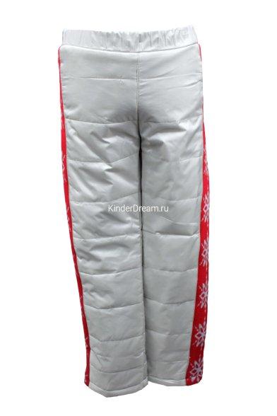 Утепленные болоньевые брюки Deloras 16253 серый/красный Deloras