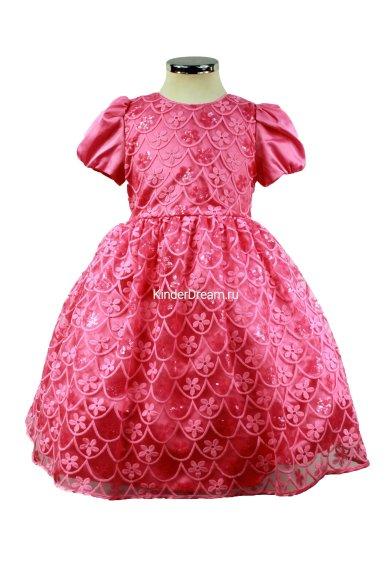 Платье из красивого гипюра Deloras 16299F фуксия Deloras
