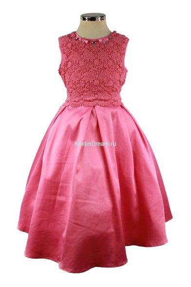 Нарядное платье без рукавов Deloras 16306 фуксия Deloras