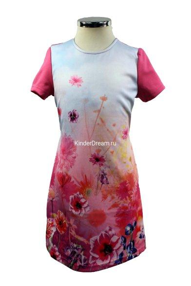 Платье с оригинальным принтом Deloras 16449 фуксия Deloras
