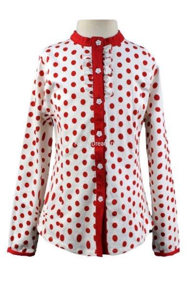 Блузка в горошек Vitacci 2152046-05 белый+красный Vitacci