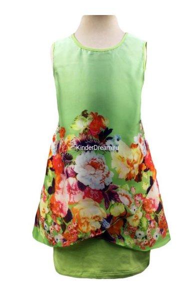 Платье с шелковой вставкой Deloras 28194 зеленый Deloras