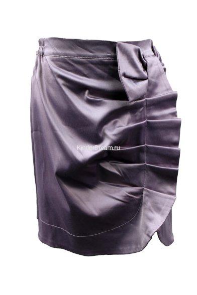 Атласная юбка с драпировкой Польша 57787 сиреневый Польша