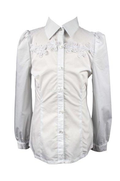 Блузка с объемными цветами Deloras 60525 белый Deloras